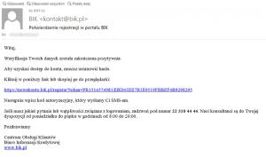 mail weryfikacyjny z BIK