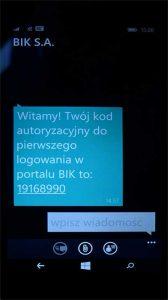 pierwsze logowanie w BIK - SMS weryfikacyjny